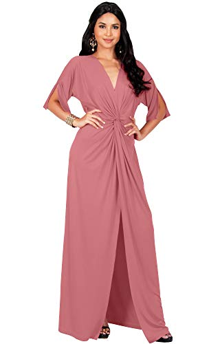 KOH KOH Plus Size Womens Long Sexy V-Neck Short Sleeve Cocktail Evening Bridesmaid Wedding Party Slimming Casual Summer Maxi Dress Dresses Gown Gowns, Cinnamon Rose Pink XL 14-16