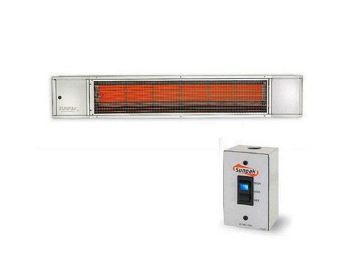 Steel Stainless Heater Electric Hanging (QBC Bundled Sunpak Two Stage Hardwired S34-S-TSH (25,000 BTU and 34,000 BTU) Hanging Patio Heater Stainless Steel Natural Gas (NG) - No Fascia Kit - Plus Infrared Heating QBC eGuide)