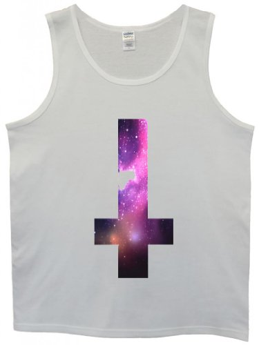 Inverted Cross Galaxy Tumblr Cool Funny Hipster Swag White Men Tank Top Vest-Medium