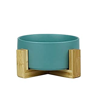 LIONWEI LIONWELI Green Ceramic Cat Bowl with Wood Stand No Spill Pet Food Water Feeder Cats Small Dogs