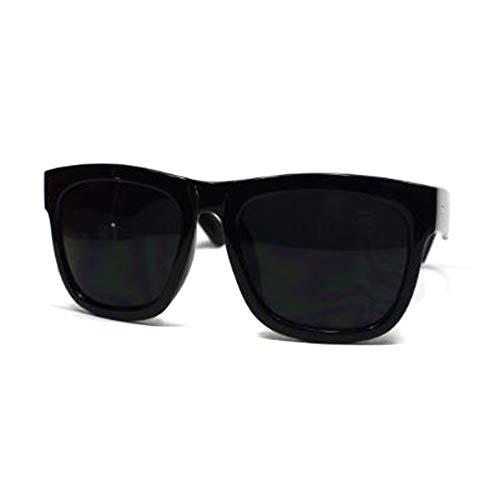Oversized Sunglasses Super Dark Lens Black Thick Horn Rim Frame