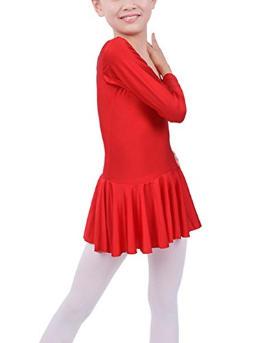 Child Girls Sports Ballet Dancewear Dress Long Sleeve Leotard Gymnastics Fitness Dance Skirt Red XXXL - Skirt Dancewear