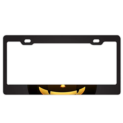 (YEX Abstract Halloween Pumpkin with Happy face on dark2 License Plate Frame Car Licence Plate Covers Auto Tag Holder 6