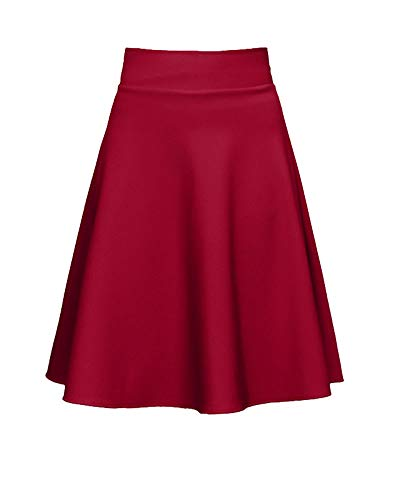 De Taille Patineur Les Rouge Haute Vin De De Femmes Jupes Jupe Marin vase Danse Midi SXwH5