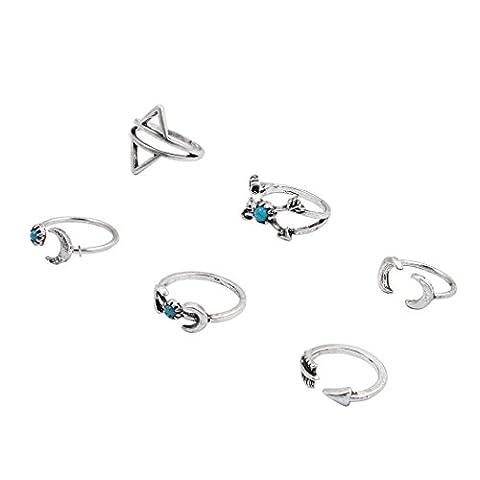 Jane Stone Ethnic Fashion Arrow Moon Gypsy Ring Set 6PCS Boho Beach Personalized Jewelry Wedding Party Gift (Boho Rings Silver)