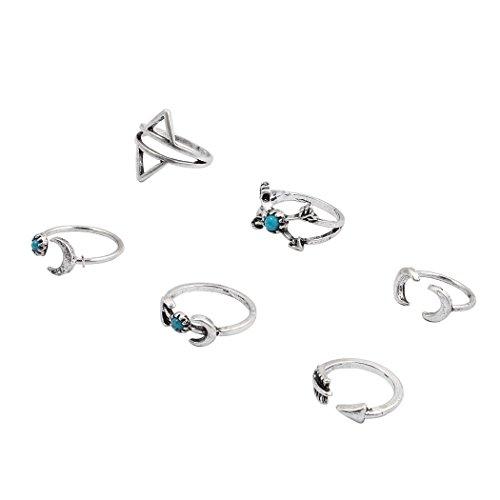 Jane Stone Ethnic Fashion Arrow Moon Gypsy Ring Set 6PCS Boho Beach Personalized Jewelry Wedding Party Gift (R0114)