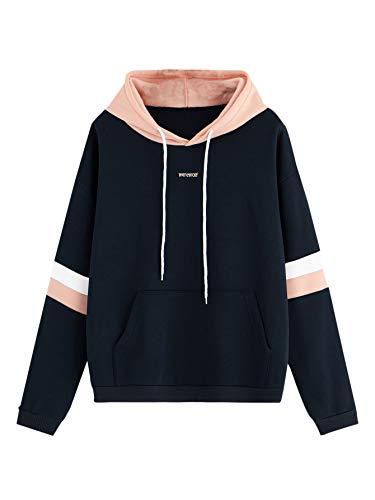 SweatyRocks Womens Long Sleeve Colorblock Pullover Fleece Hoodie Sweatshirt Tops Navy Pink Small]()