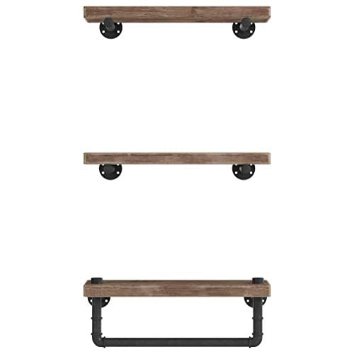 Image of WGX Design For You Industrial Pipe Shelving Shelves Bookcase Rustic Wood Metal Wall Mounted Towel Bar Hanging Storage Racks Floating Wood Shelves Home and Kitchen