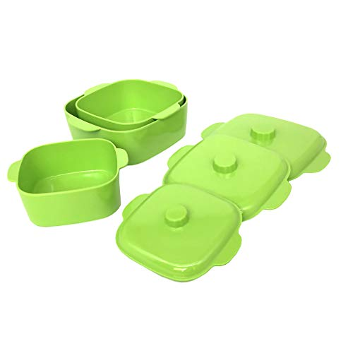 GWPP Melamine Plastic Bowl with Lid and Handle, Square, Set of 3 assorted sizes, for Food Storage. B9908 (Green)