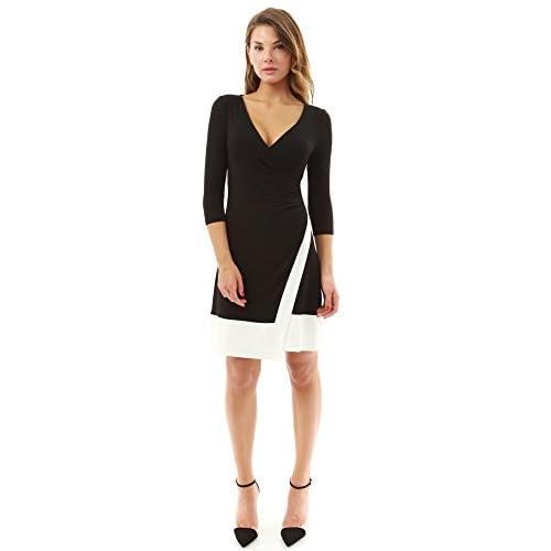 62248bfc7b4 PattyBoutik Women's V Neck 3/4 Sleeve A-Line Wrap Dress hot sale ...