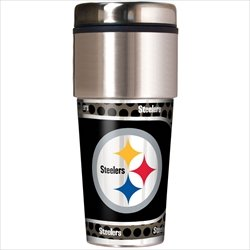 Pittsburgh Steelers 16 oz Travel Tumbler with Metallic Wrap (Silver Steelers Pittsburgh Metal)