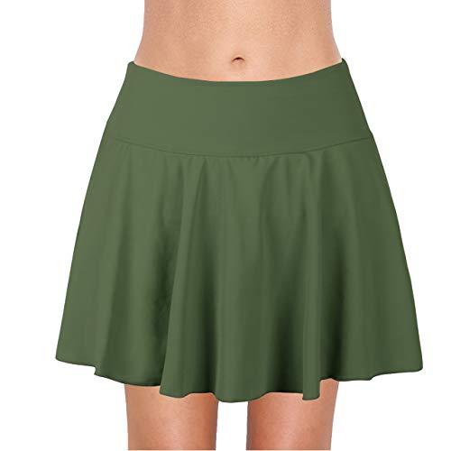 Saejous Women's Athletic Swim Skirt Plus Size Skirted Bikini Bottom Solid Color Vantage Tankini Green