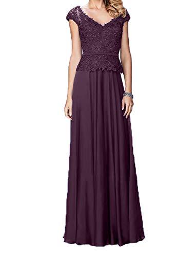 Damen Brautmutterkleider Spitze Kleider Kurzarm Abendkleider Standsamt Promkleider Traube Charmant Lang 1SwUqRq