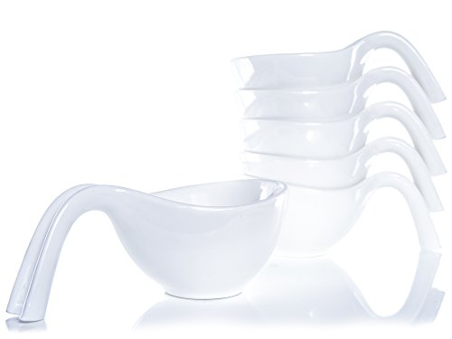 Tableau 3oz Porcelain Dipping Bowls/Soy Sauce Dishes/Appetizer Spoons - 6 Pack, White, Stackable Ramekins Handle by Tableau