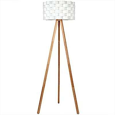 Brightech – Bijou LED Tripod Floor Lamp – Contemporary Design for Modern Living Rooms – Soft, Ambient Lighting – includes Brightech's LightPro LED 9.5-Watt Bulb - Natural Wood Color