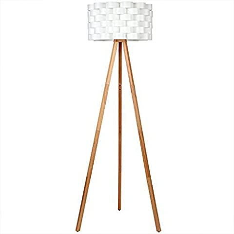 Brightech – Bijou LED Tripod Floor Lamp – Contemporary Design for Modern Living Rooms – Soft, Ambient Lighting – includes Brightech's LightPro LED 9.5-Watt Bulb - Natural Wood - Bamboo Style Legs