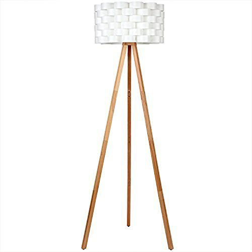 (Brightech Bijou LED Tripod Floor Lamp - Mid Century Modern Standing Light for Contemporary Living Rooms - Alexa Compatible Tall Lamp for Bedroom or Office - Woven Drum Shade & Natural Wood)