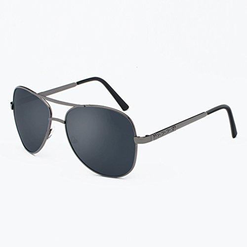 Protection de UV Hommes Double Sunglasses Polarisées Cadre Lentille LINNUO Métal Femmes Eyewear Lunettes Driving Soleil Aviateur Pont Noir x0cY1