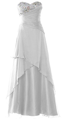 MACloth Strapless Long Prom Dress Crystals Tiered Chiffon Formal Evening Gown Blanco