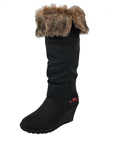 Women Winter-Boots Wedge Knee-High artificial fur BLACK Shoes Quality women's boots LYe2HP6bP