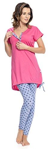 dn nightwear Pijama para Mujer de lactancia PM.9007 rosa M