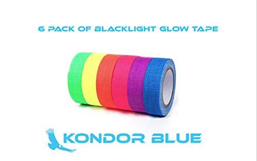 6-Pack UV Blacklight Reactive Fluorescent/Neon Gaffer Tape Matte Finish