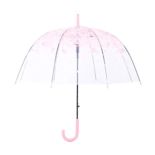 Queen Boutiques Easy to fold Japanese Cherry Umbrella Korean Transparent Umbrella Small Fresh Lightweight Easy Carrying Long Handle Umbrella Rainproof and Windproof ()