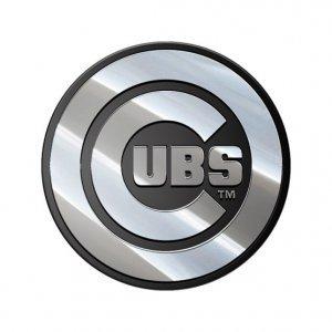 - MLB Chicago Cubs Premium Metal Automobile Emblem, Silver, 3