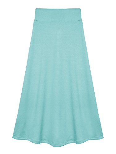 Price comparison product image Bello Giovane Girls 7-16 Years Solid Maxi Skirt (Large, Baby Blue)