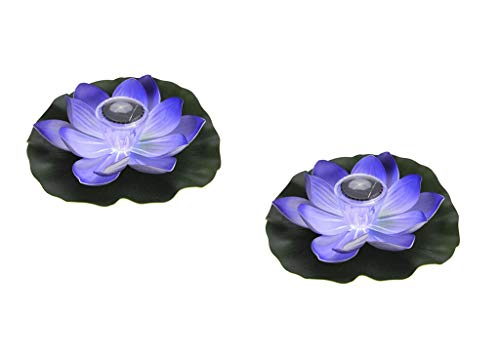 (JKLcom Solar Light LED Purple Lotus Light Solar Powered Floating Lotus Flower Night Lamp Outdoor Floating Pond Night Light for Pool Pond,Multi-Colored Light,2 Pack)