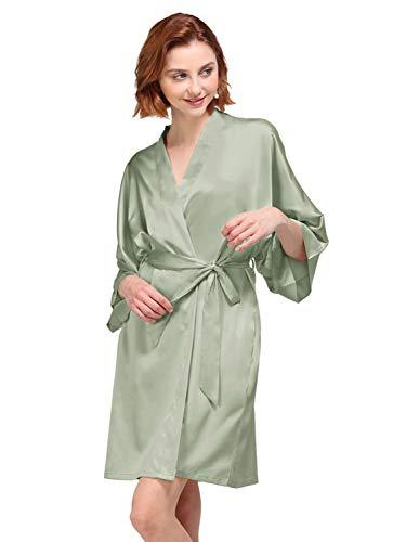 AW Silky Satin Robes Short Kimono Bathrobe Dressing Gown for Bride Bridesmaid Wedding Party Silk Robe Plus Size, Sage Green, - Silky Sage