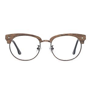 TIJN Woodgrain Clubmaster Eyeglasses Frame Faux Wooden Glasses