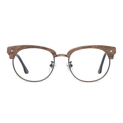 TIJN Woodgrain Clubmaster Eyeglasses Frame Faux Wooden - Wooden Glasses Frames