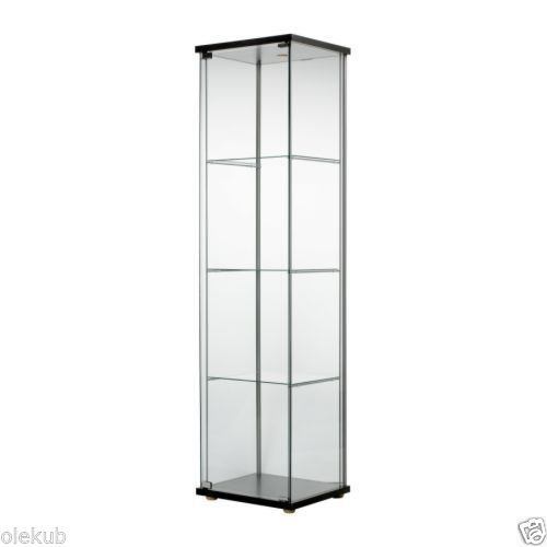 (Ship from USA) IKEA DETOLF Glass - Door Cabinet, Black - Brown .PACKNO-5R27G2-1C82HY2433 ()