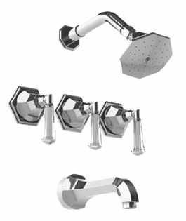 Watermark Beverly 3 Valve Tub / Shower System Polished Nickel