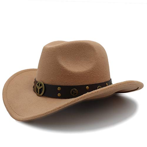 (Fashion Women Wool Hollow Western Cowboy Hat for Lady Cowgirl Jazz Equestrian Sombrero Hombre Cap Size 56-58cm)