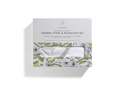 Storksak Hooded Towel and Washcloth Set, Garden Print, One Size