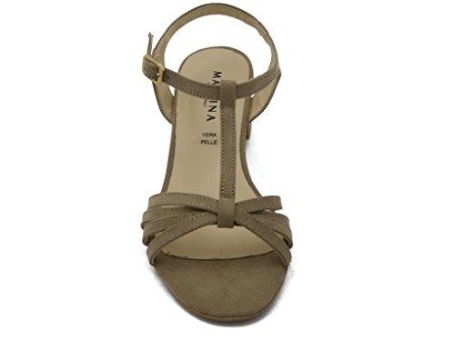 Sandalo Martina in ecocamoscio, con tacco 4cm., SUOLA IN gomma ANTISCIVOLO, Estivo-68556