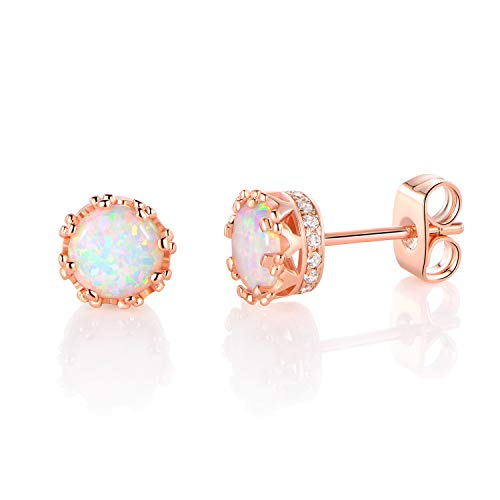 MDFUN Rose Gold Plated 6.0mm Round Brilliant Crown Opal and Cubic Zirconia Stud Earrings
