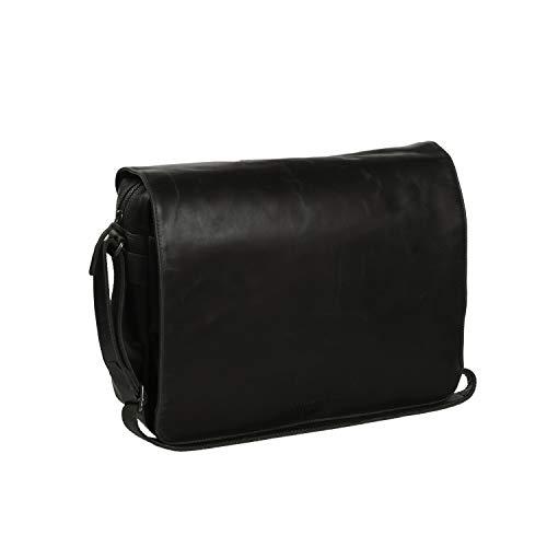 Le sac de messager Chesterfield Brand Denver en cuir, compartiment pour ordinateur portable 46 cm, noir