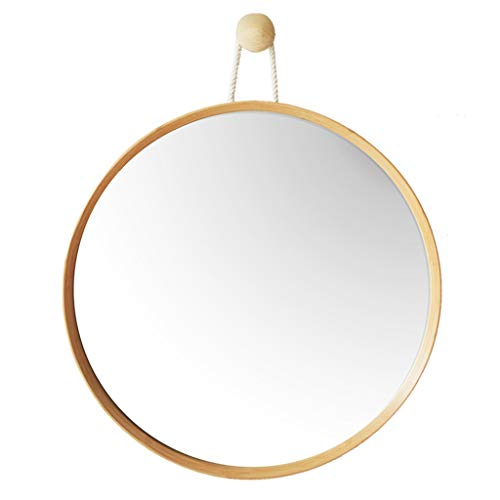 Mirrors Bathroom Round Bamboo Dressing Wall Bedroom Dressing Bamboo Fram (Color : -
