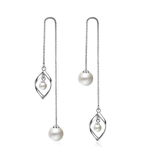 - Women's 925 Sterling Silver Long Tassel Threader Dangle Earring Elegant Simulated Pearl Crystals Earring