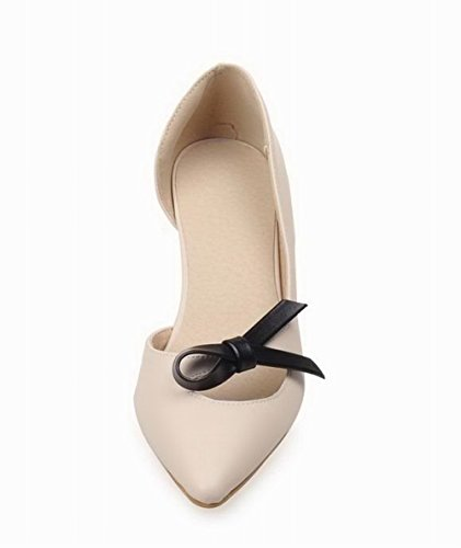 WeenFashion Heels Closed Pu Beige Pull Toe On Kitten Women's Solid Sandals CC4qHxnSr