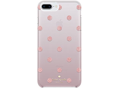Kate spade new york Protective Hardshell Case for iPhone 8 Plus - also compatible with iPhone 7 Plus, iPhone 6+/6s+ - Glitter Dot Foxglove/Rose Gold Glitter
