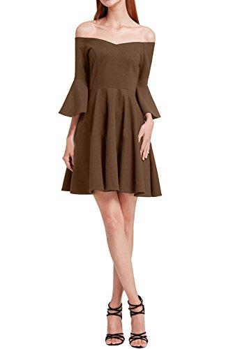 A Modern Abendkleid Schokolade Festkleid Partykleid Chiffon U Ausschnitt Promkleid Linie Ivydressing Damen wXqUB7qa