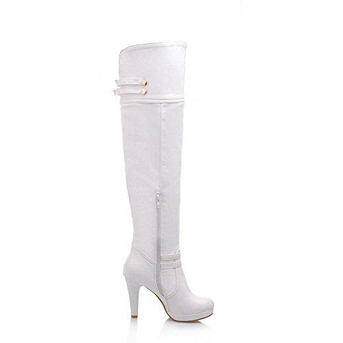 BalaMasa Womens High Heels über dem Knie Solide PU-Oberschenkel-Stiefel Weiß
