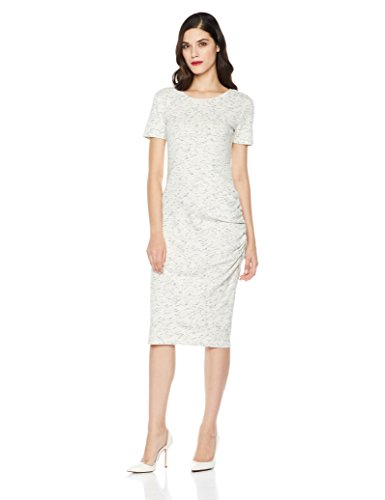 Mariella Bella Women's Short Sleeve Knit Dress With One Side Ruched Large Ivory/Indigo (Dress Ruched Knit)