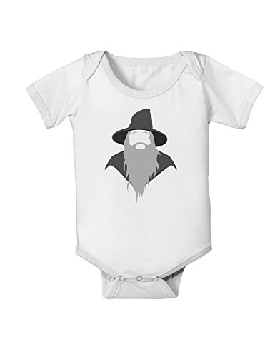 TooLoud Grey Wizard Baby Romper Bodysuit - White - 12 Months