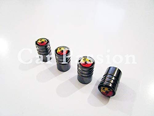RacePace  Deluxe Black Valve Dust Caps 500 Panda Bravo 124 Spider 595 Set of 4