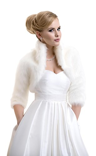 Ladies Fox Faux Fur Bridal Wedding Jacket Bolero FFJ-57 by Lacey Bell